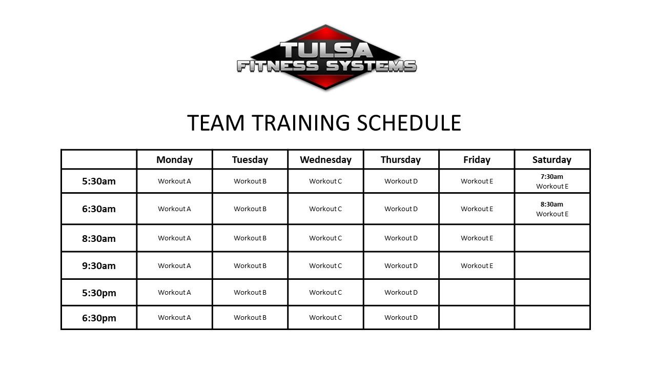Team Training Schedule 2018